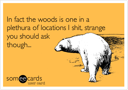 In fact the woods is one in a plethura of locations I shit, strange you should ask