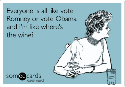 Everyone is all like vote Romney or vote Obama and I'm like where's  the wine%3F