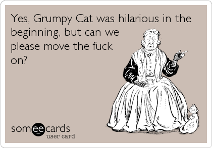 Yes, Grumpy Cat was hilarious in the beginning, but can we please move the fuck on?