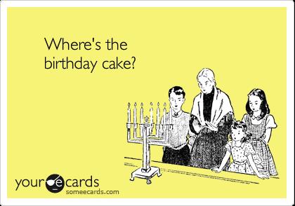 Where's the        birthday cake?