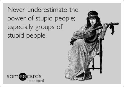 Never underestimate the power of stupid people; especially groups of stupid people.