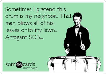 Sometimes I pretend this drum is my neighbor.. That man blows all of his leaves onto my lawn.. Arrogant SOB...
