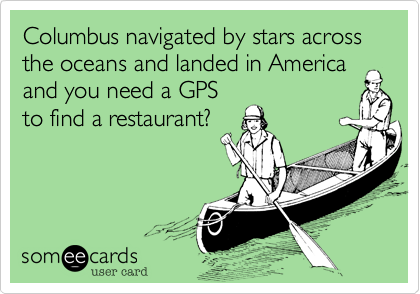 Columbus navigated by stars across the oceans and landed in America