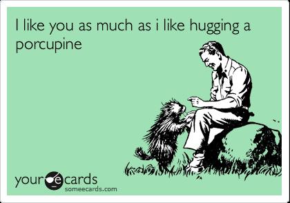 I like you as much as i like hugging a porcupine