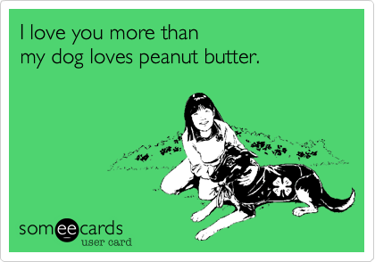 I love you more than my dog loves peanut butter.