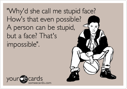 """""""Why'd she call me stupid face? How that's even possible? A person can be stupid, but a face? That's impossible""""."""