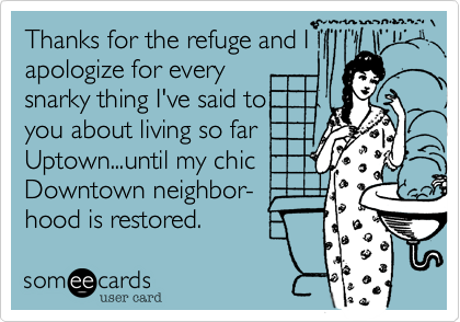 Thanks for the refuge and I apologize for every  snarky thing I've said to  you about living so far Uptown...until my chic Downtown neighbor- hood is restored.