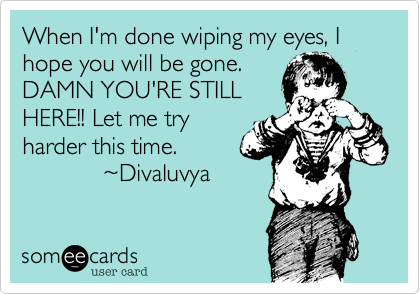 When I'm done wiping my eyes, I hope you will be gone. DAMN YOU'RE STILL HERE!! Let me try harder this time.             %7EDivaluvya