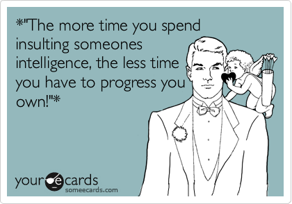 "*""The more time you spend  insulting someones 