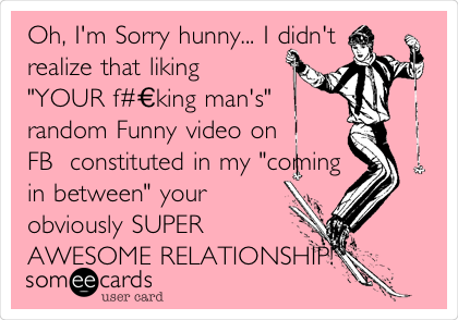"Oh, I'm Sorry hunny... I didn't realize that liking ""YOUR f#€king man's"" random Funny video on FB  constituted in my ""coming in between"" your obviously SUPER AWESOME RELATIONSHIP!"