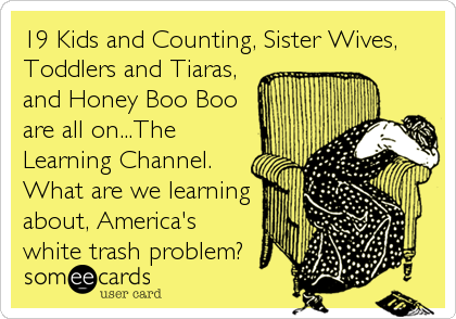19 Kids and Counting, Sister Wives, Toddlers and Tiaras, and Honey Boo Boo are all on...The Learning Channel. What are we learning about, America's white trash problem?