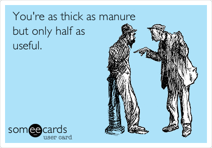 You're as thick as manure but only half as useful.