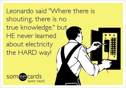 "Leonardo said ""Where there is shouting, there is no true knowledge,"" but HE never learned about electricity the HARD way!"