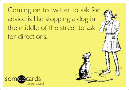 Coming on to twitter to ask for  advice is like stopping a dog in the middle of the street to ask for directions.