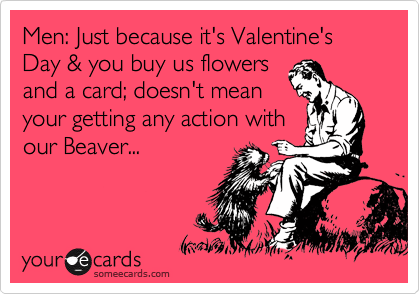 Men: Just because it's Valentine's Day & you buy us flowers and a card; doesn't mean your getting any action with our Beaver...