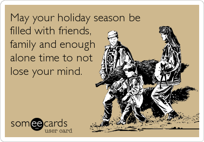 May your holiday season be filled with friends, family and enough alone time to not lose your mind.