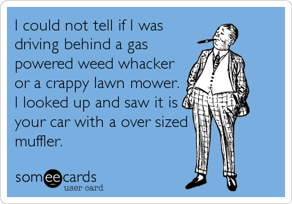 I could not tell if I was driving behind a gas powered weed whacker or a crappy lawn mower. I looked up and saw it is your car with a over sized  muffler.