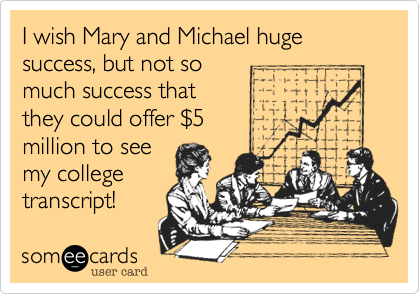 I wish Mary and Michael huge success%2C but not so 