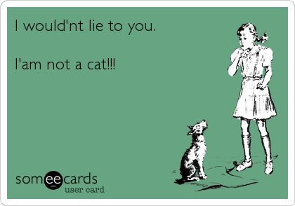 I would'nt lie to you.  I'am not a cat!!!