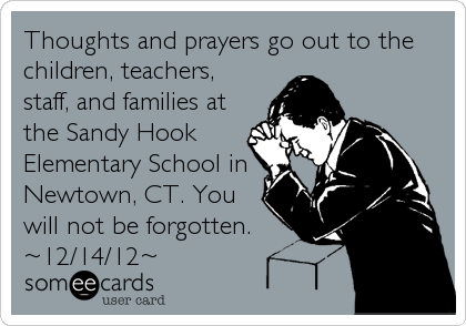 Thoughts and prayers go out to the children, teachers, staff, and families at the Sandy Hook Elementary School in Newtown, CT. You will not be forgotten. ~12/14/12~