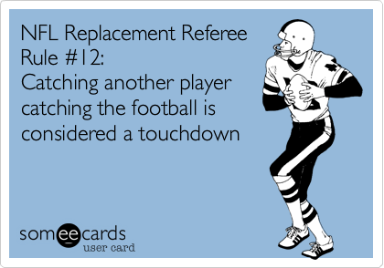 NFL Replacement Referee Rule %2312%3A Catching another player catching the football is considered a touchdown