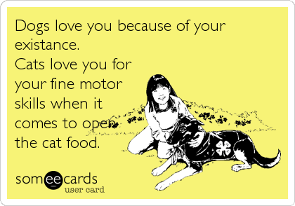Dogs love you because of your existance.  Cats love you for your fine motor skills when it comes to open the cat food.