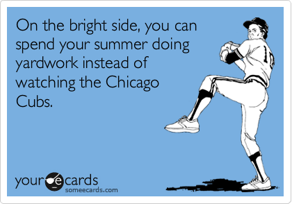 On the bright side, you can  spend your summer doing yardwork instead of  watching the Chicago Cubs.