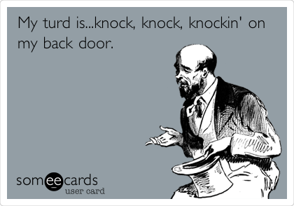 My turd is...knock, knock, knockin' on my back door.