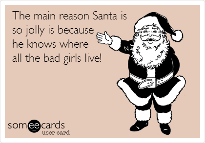 The main reason Santa is  so jolly is because he knows where  all the bad girls live!