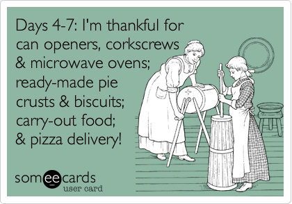 Days 4-7%3A I'm thankful for  can openers%2C corkscrews  %26 microwave ovens%3B  ready-made pie  crusts %26 biscuits%3B carry-out food%3B %26 pizza delivery!