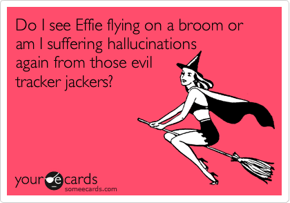 Do I see Effie flying on a broom or am I suffering hallucinations