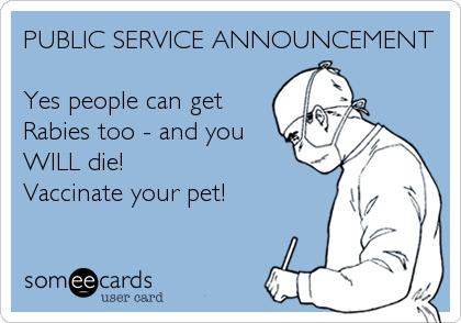 PUBLIC SERVICE ANNOUNCEMENT  Yes people can get Rabies too - and you WILL die! Vaccinate your pet!