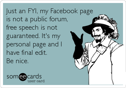 Just an FYI, my Facebook page