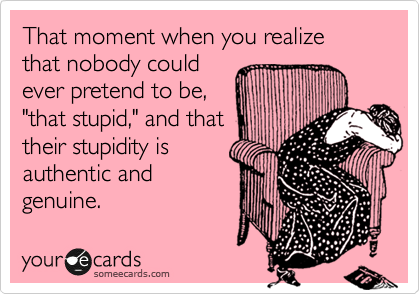 """That moment when you realize that nobody could ever pretend to be, """"that stupid,"""" and that their stupidity is authentic and genuine."""