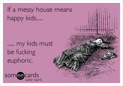 If a messy house means happy kids......   ...... my kids must be fucking euphoric.