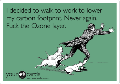 I decided to walk to work to lower my carbon footprint. Never again. Fuck the Ozone layer.