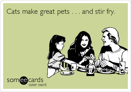 Cats make great pets . . . and stir fry.