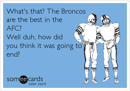 What's that? The Broncos are the best in the AFC? Well duh, how did you think it was going to end?