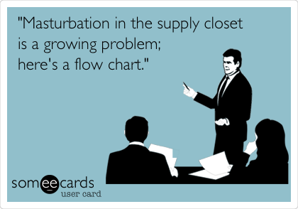"""""""Masturbation in the supply closet is a growing problem; here's a flow chart."""""""