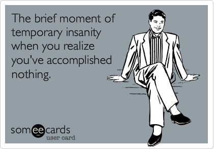 The brief moment of  temporary insanity when you realize you've accomplished nothing.