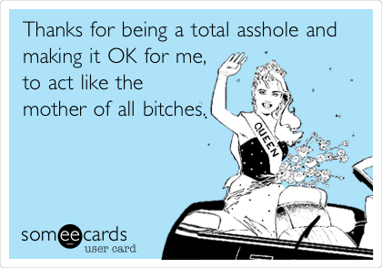 Thanks for being a total asshole and making it OK for me, to act like the mother of all bitches.