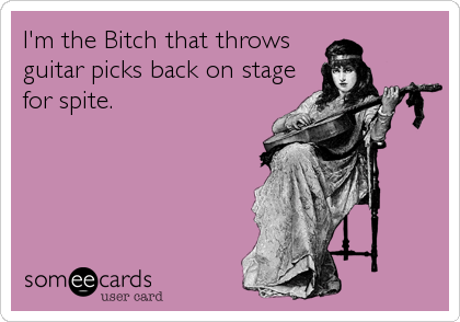 I'm the Bitch that throws guitar picks back on stage for spite.