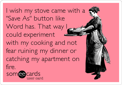 "I wish my stove came with a ""Save As"" button like Word has. That way I could experiment  with my cooking and not fear ruining my dinner or catching my apartment on fire."