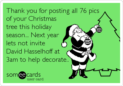 Thank you for posting all 76 pics of your Christmas tree this holiday season... Next year lets not invite David Hasselhoff at 3am to help decorate..