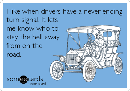 I like when drivers have a never ending turn signal. It lets me know who to stay the hell away from on the road.
