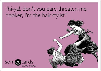 "''hi-ya!, don't you dare threaten me hooker, I'm the hair stylist."""