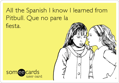 All The Spanish I Know Learned From Pitbull Que No Pare La Fiesta