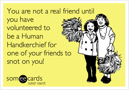 You are not a real friend until you have volunteered to be a Human Handkerchief for one of your friends to snot on you!