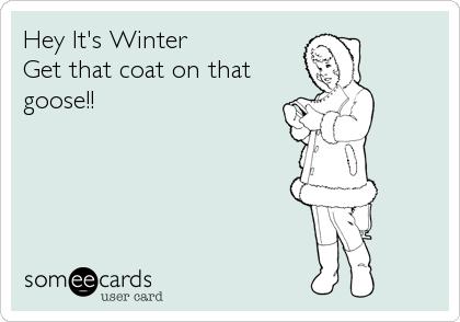 Hey It's Winter Get that coat on that goose!!