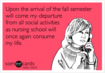 Upon the arrival of the fall semester will come my departure